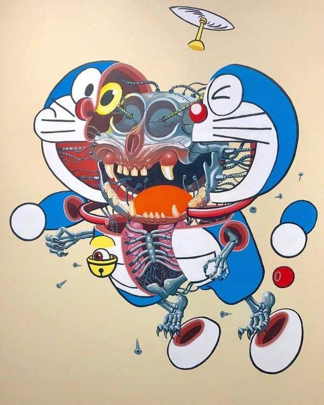 Bộ tranh cắt lớp các nhận vật manga đình đám, Doraemon trông sợ hết hồn - Ảnh 1.