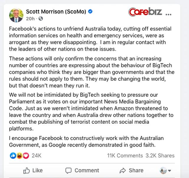 Quyền lực 'bá đạo' của Mark Zuckerberg: Cắt quyền truy cập thông tin của cả nước Úc ngay trong đêm, chính phủ giận dữ Facebook thay đổi thế giới không có nghĩa họ điều hành thế giới - Ảnh 2.