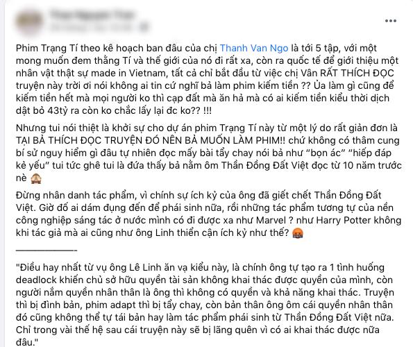 Quản lý cũ của Ngô Thanh Vân bất ngờ chỉ trích tác giả Lê Linh, netizen lại dậy sóng quyết tẩy chay phim 'Trạng Tí' - Ảnh 1.