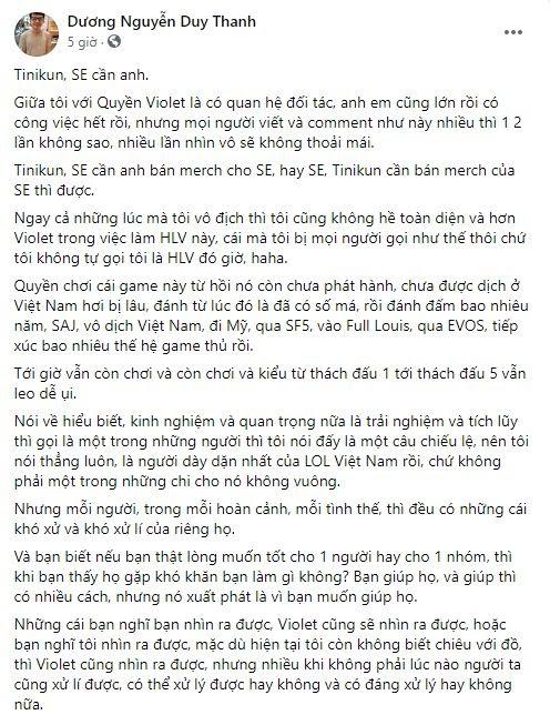 SBTC Esports thi đấu chưa đạt kỳ vọng, Tinikun vẫn lên tiếng ủng hộ HLV Violet - Ảnh 1.