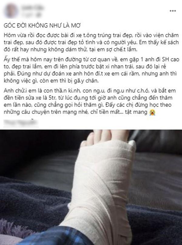 Cố tình gây tai nạn để có người yêu như trên mạng, cô gái nhận ăn trọn combo: bị chửi, gãy chân, mất tiền - Ảnh 2.