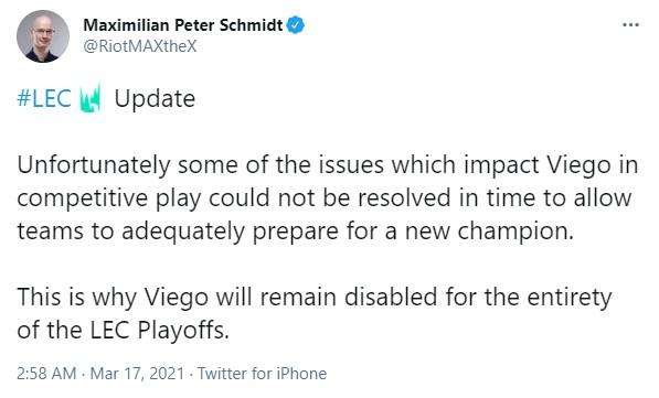 Nhiều bug quá sửa không nổi, Viego bị cấm cửa tại đấu trường chuyên nghiệp Mùa Xuân, nguy cơ lỡ cả MSI? - Ảnh 1.