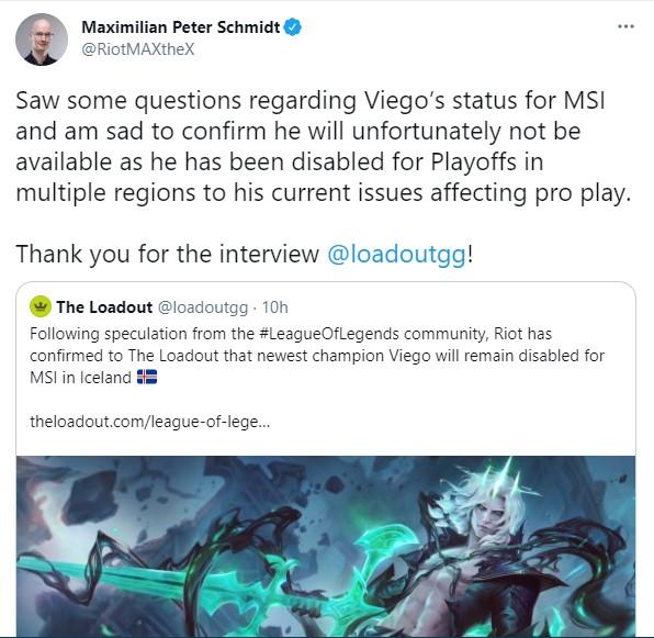 Riot Games xác nhận: Viego sẽ bị cấm cửa khỏi MSI 2021 - Ảnh 1.