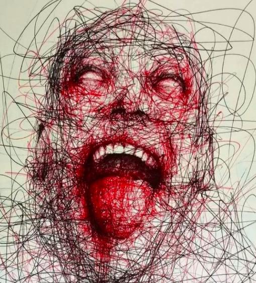 """Vẽ graffiti bằng bút bi, nam hoạ sĩ khiến người xem """"nổi da gà với những bức tranh kỳ quái - Ảnh 1."""