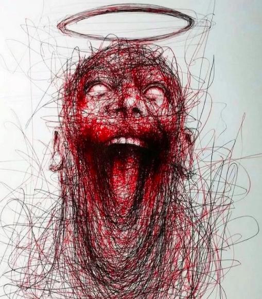 """Vẽ graffiti bằng bút bi, nam hoạ sĩ khiến người xem """"nổi da gà với những bức tranh kỳ quái - Ảnh 2."""