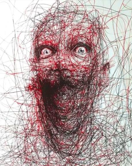 """Vẽ graffiti bằng bút bi, nam hoạ sĩ khiến người xem """"nổi da gà với những bức tranh kỳ quái - Ảnh 3."""