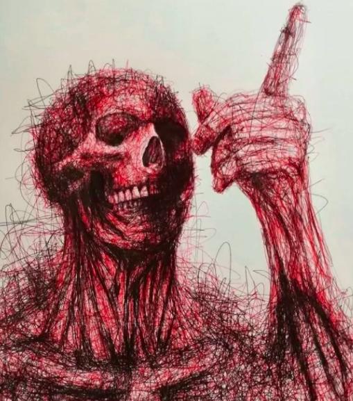 """Vẽ graffiti bằng bút bi, nam hoạ sĩ khiến người xem """"nổi da gà với những bức tranh kỳ quái - Ảnh 4."""