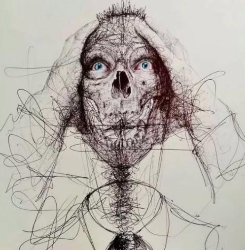 """Vẽ graffiti bằng bút bi, nam hoạ sĩ khiến người xem """"nổi da gà với những bức tranh kỳ quái - Ảnh 5."""