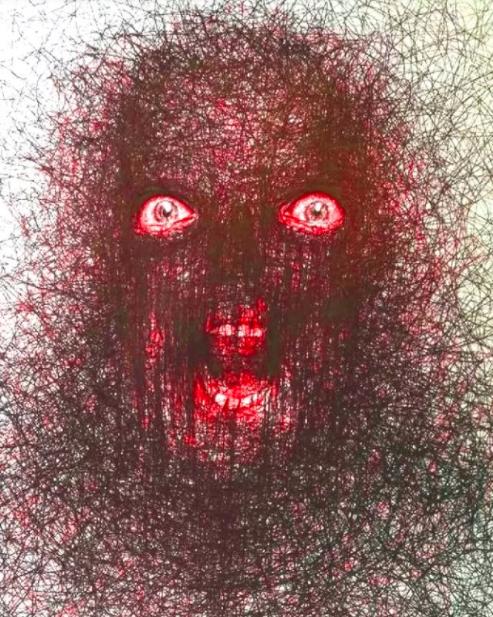 """Vẽ graffiti bằng bút bi, nam hoạ sĩ khiến người xem """"nổi da gà với những bức tranh kỳ quái - Ảnh 6."""