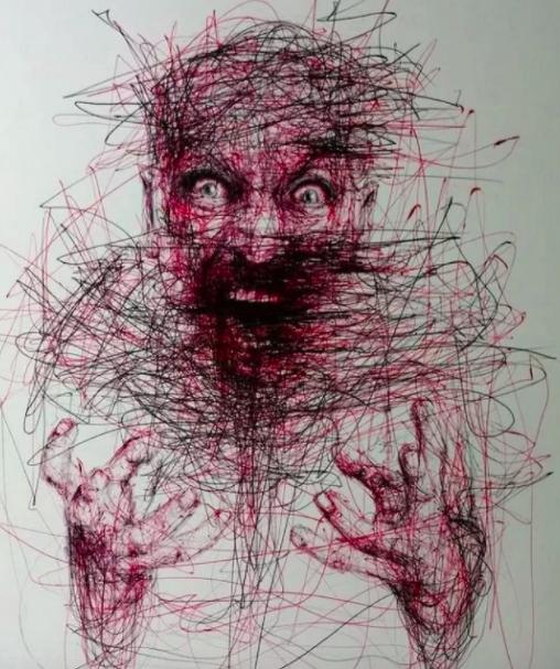 """Vẽ graffiti bằng bút bi, nam hoạ sĩ khiến người xem """"nổi da gà với những bức tranh kỳ quái - Ảnh 7."""