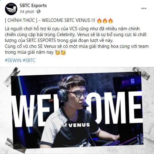 Chính thức: Venus gia nhập SBTC Esports, bộ đôi nguyên tử của VCS tái hợp - Ảnh 1.