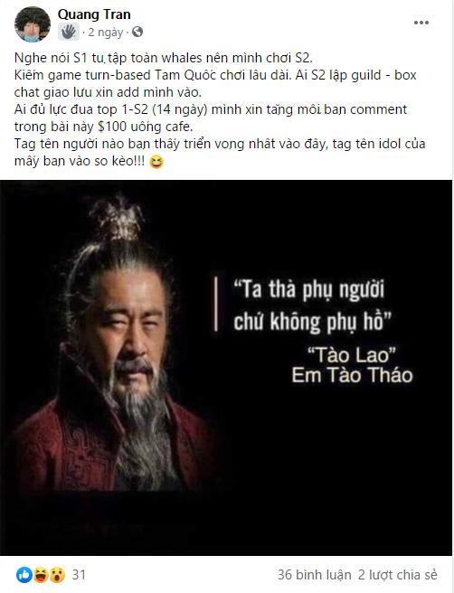 Ngạo Thế Tam Quốc dậy sóng, Đại gia Việt Kiều gửi chiến thư tặng 100 triệu cho ai tìm được người đua TOP với mình - Ảnh 1.