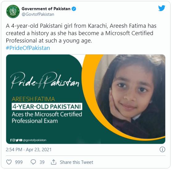 Arish Fatima phá kỷ lục thế giới khi trở thành người trẻ nhất đạt chứng nhận này của Microsoft Photo-1-16193243074962032485490