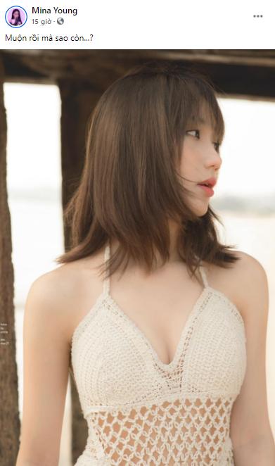 Khoe hình mặc bikini sexy, Mina Young còn bắt trend viết cap giống Sơn Tùng M-TP khiến fan phấn khích - Ảnh 1.