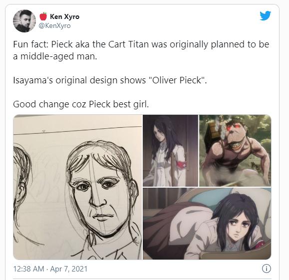 Attack on Titan: Thiết kế ban đầu của Pieck hóa ra là một người đàn ông trung niên, may quá bố trẻ đã đổi ý - Ảnh 1.