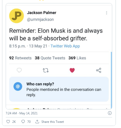 Nhà sáng lập Dogecoin gọi Elon Musk là kẻ chỉ biết quan tâm đến bản thân - Ảnh 2.