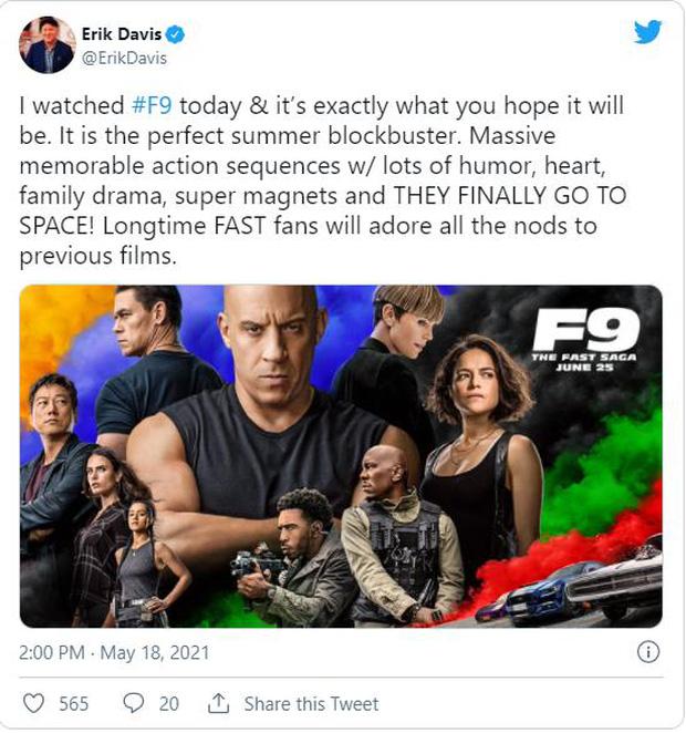 Fast & Furious 9 nhận cơn mưa lời khen: Phần phim hoành tráng và ảo nhất thương hiệu là đây! - Ảnh 3.