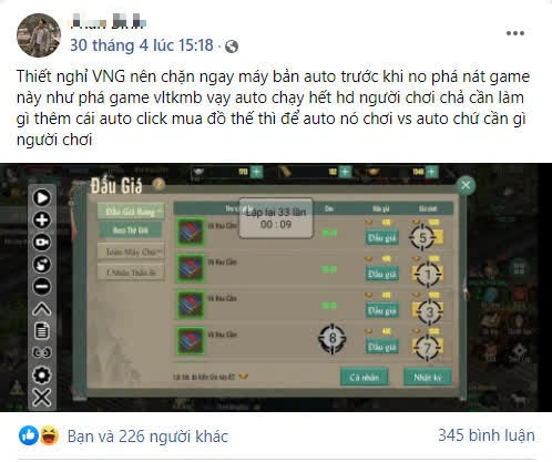Hết cắm giả lập PC 4 tài khoản, game thủ VLTK 1 Mobile kêu trời, lo bị phá nát game vì vấn nạn auto này - Ảnh 2.