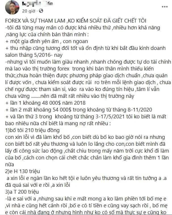 """CĐM choáng với thanh niên định tự vẫn vì """"bay"""" cả tỷ Đồng do forex, đăng STK ngân hàng xin """"donate"""" - Ảnh 1."""