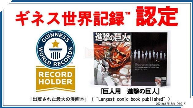 Attack On Titan nhận kỷ lục Guinness Cuốn manga khổng lồ nhất thế giới chỉ sau 2 phút phát hành - Ảnh 1.