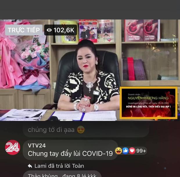 Thực hư chuyện VTV24 tranh thủ tuyên truyền chống dịch trên livestream của bà Phương Hằng - Ảnh 1.