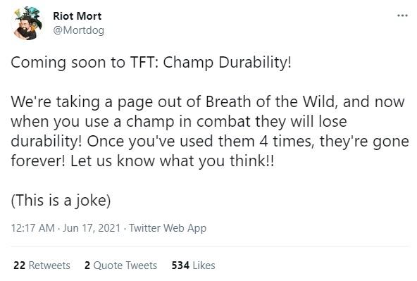 Riot Mortdog bông đùa về một cơ chế mới tại Đấu Trường Chân Lý nhưng cộng đồng lại vô cùng tán thưởng - Ảnh 1.