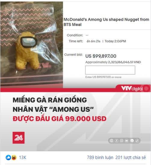"""VTV khiến CĐM sốc với thông tin miếng gà rán có hình Among Us được rao bán với mức giá lên tới """"tỷ đồng"""" - Ảnh 3."""