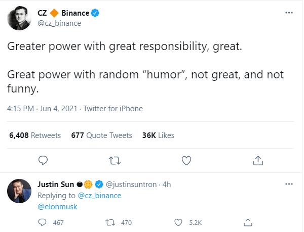 Nóng mắt vì dòng tweet dìm giá Bitcoin, CEO sàn Binance gọi Elon Musk là kẻ vô trách nhiệm, không hài hước - Ảnh 1.