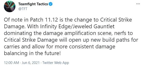 Meta Đấu Trường Chân Lý sẽ thay đổi hoàn toàn tại bản 11.12 vì Riot nerf nặng sát thương chí mạng - Ảnh 2.