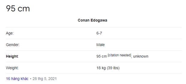 """Chiều cao của Conan khi tìm kiếm trên mạng, có lừa dối quá """"khum""""?"""