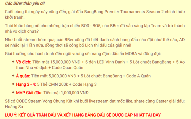 Bùng nổ với giải đấu Bang Bang Premier Tournaments Season 2 - Ảnh 2.