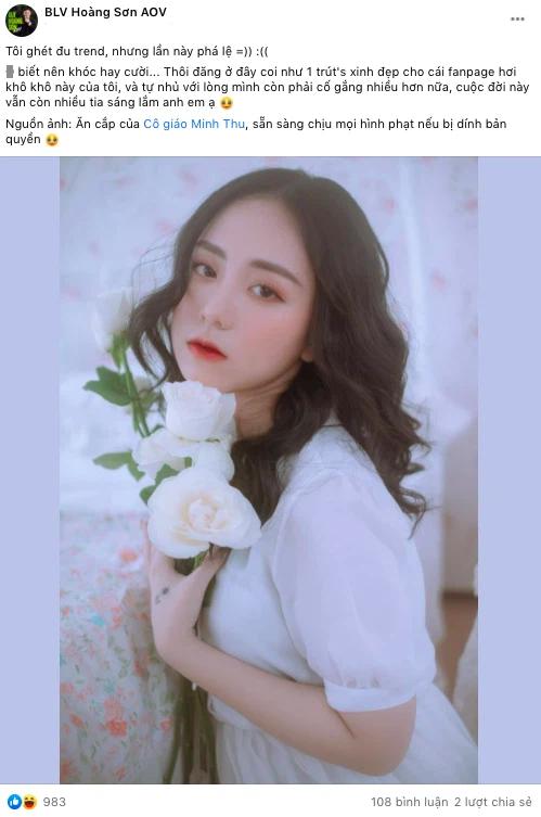 BLV Liên Quân công khai chuyện ăn cắp ảnh cô giáo Minh Thu làm content, sẵn sàng chịu phạt nếu bị kiện vi phạm bản quyền - Ảnh 1.