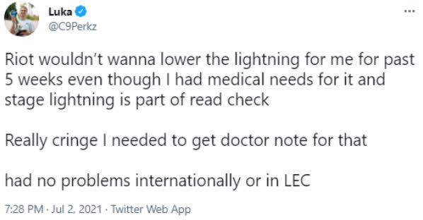 C9 Perkz tiết lộ lý do đội mũ lưỡi trai để thi đấu, LCS lại bị chỉ trích vì phớt lờ tình trạng sức khỏe của tuyển thủ - Ảnh 2.