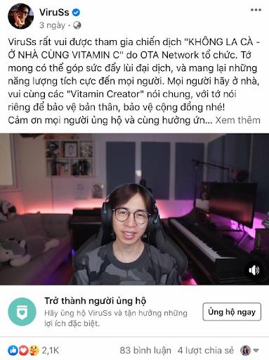 ViruSs cùng dàn creators đình đám hưởng ứng hoạt động vì cộng đồng Không la cà - ở nhà cùng Vitamin C - Ảnh 4.