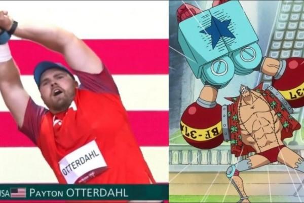 One Piece: Hết Luffy, giờ đến lượt Franky được vận động viên Olympic cosplay trên sóng trực tiếp - Ảnh 2.