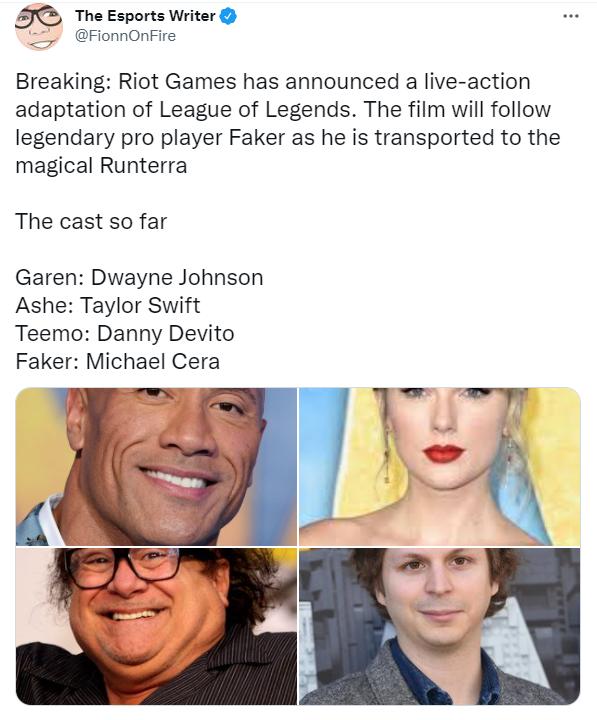 Rộ tin Riot sắp làm phim live-action LMHT về Faker, có cả The Rock và Taylor Swift, nhưng vai Quỷ Vương lại gây tranh cãi - Ảnh 1.