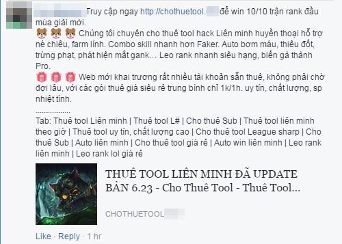 Quảng cáo tool hack đầu mùa giải trên Facebook