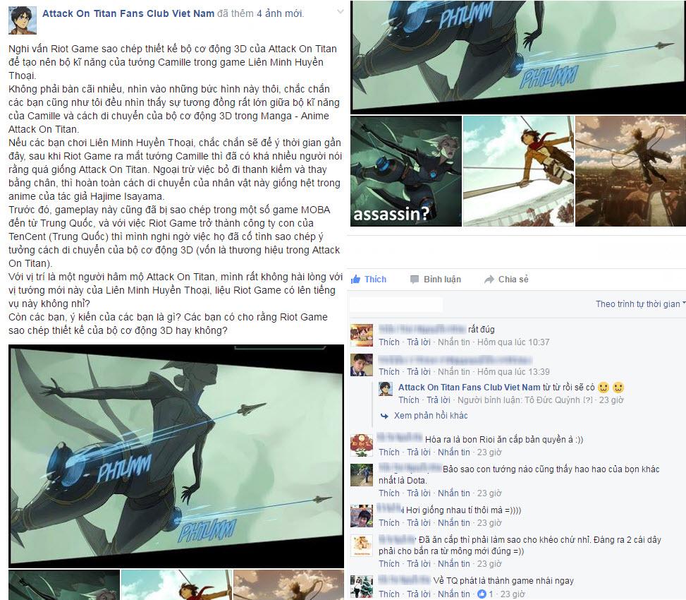 Fanpage Attack On Titan Fans Club Viet Nam đã chỉ ra sự trùng hợp này và nghi vấn Riot Games sao chép