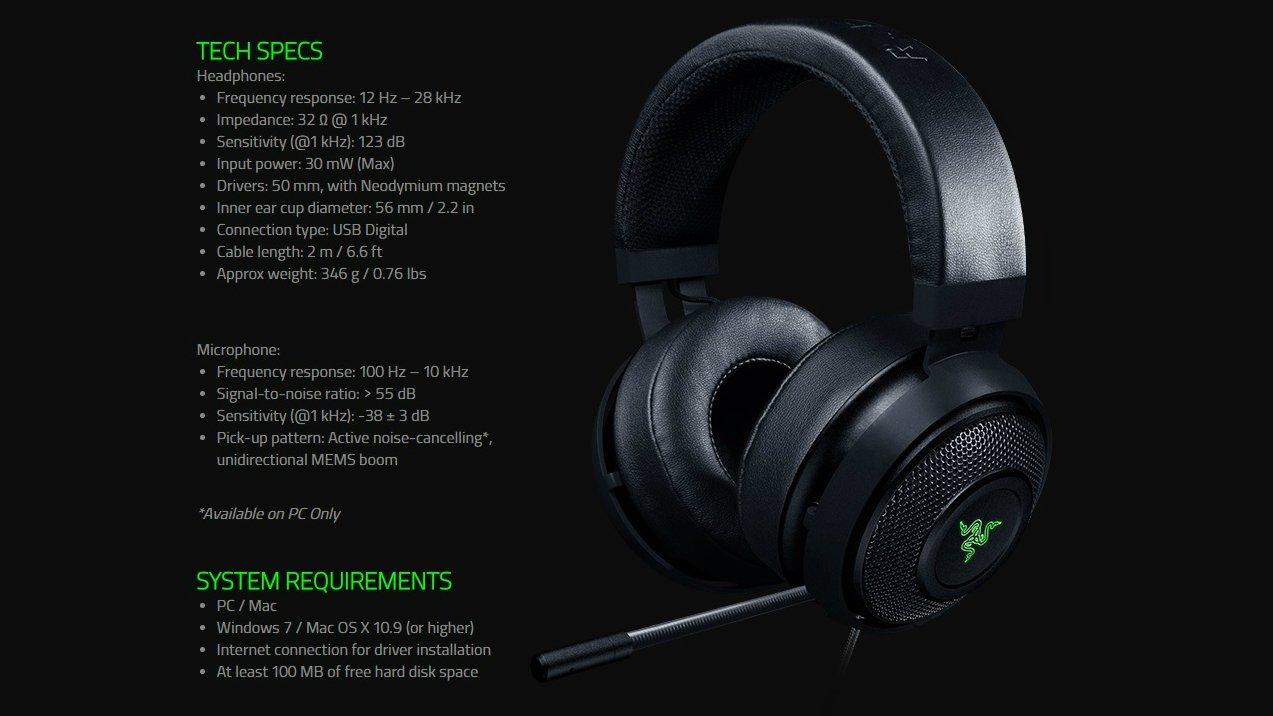 Thông số kỹ thuật tai nghe Kraken 7.1 V2