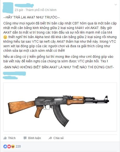 Đại diện 1 clan lớn trong Xuất Kích lên tiếng đòi lại công bằng cho AK-47