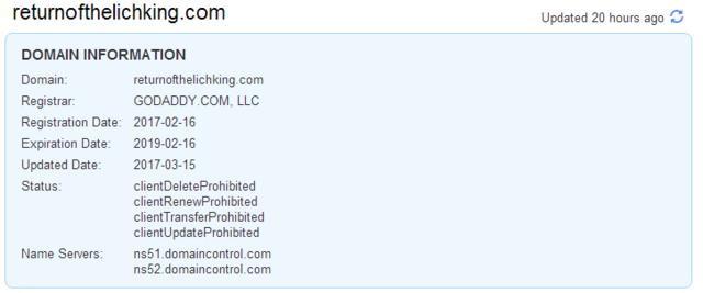 Tên miền returnofthelichking.com bất ngờ được đăng ký bởi Blizzard từ tháng 02/2017 vừa qua