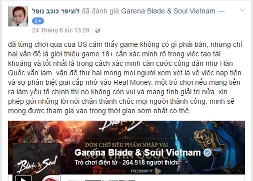 Một game thủ đưa ra ý kiến nên yêu cầu đăng ký số CMT cho Blade and Soul