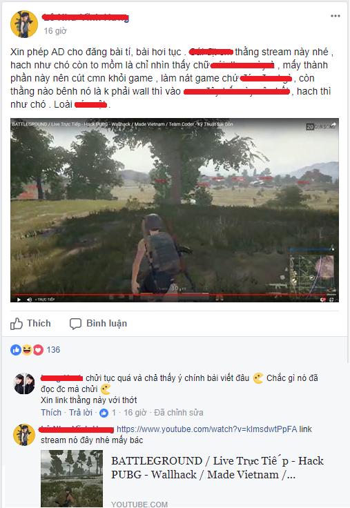 Một đoạn thảo luận trên diễn đàn PUBG Việt Nam để phản ánh tình trạng phát tán hack ngang nhiên trên kênh Stream của game thủ Việt.