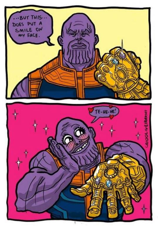 Hí hí mấy viên ngọc trên tay anh đẹp quá.... Có lẽ biểu cảm này hợp với một người đàn ông cuồng đá quý như Thanos đó.