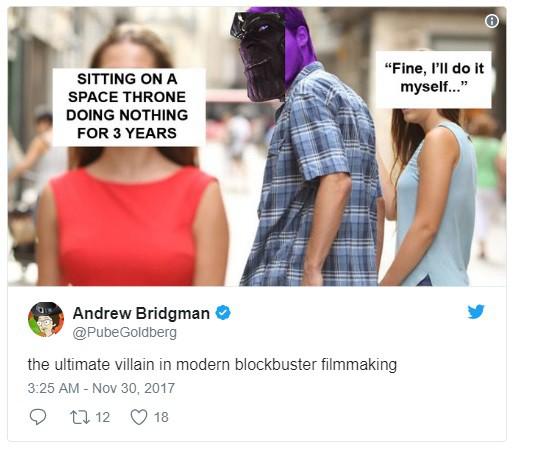 Được rồi, ta sẽ tự mình ra tay vậy... Và rồi Thanos ngồi trên ngai vàng 3 năm mà chẳng làm gì.