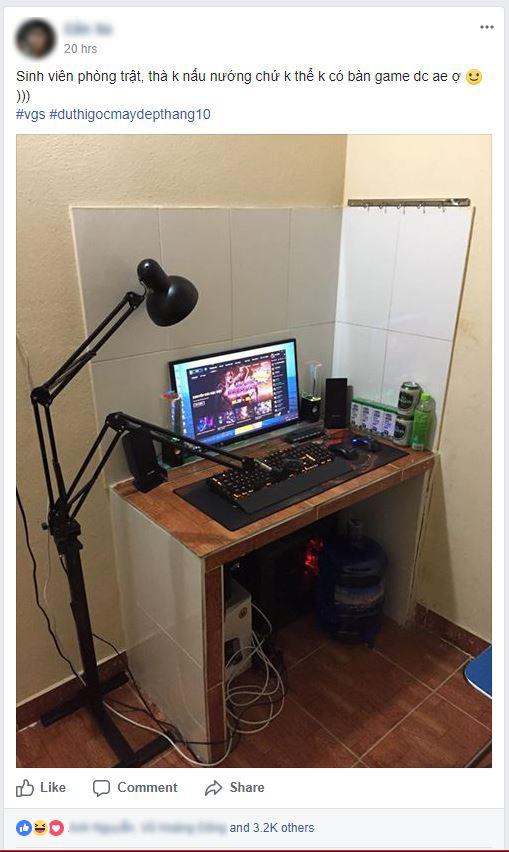 """Game thủ Việt khoe góc chơi game """"xó bếp"""" cực chất, cần gì phải bàn ghế khủng mới được chìm vào thế giới ảo?"""