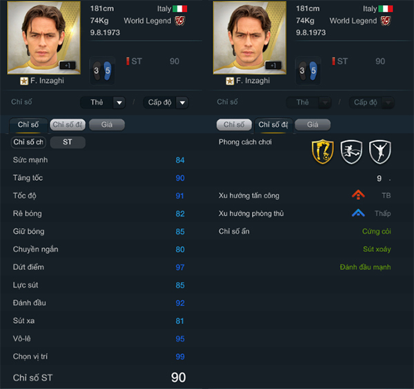 Inzaghi World Legend trong FIFA Online 3: Vua việt vị