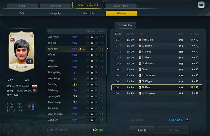 FIFA Online 3: Cách phân bổ điểm tập luyện trong tính năng đào tạo ...