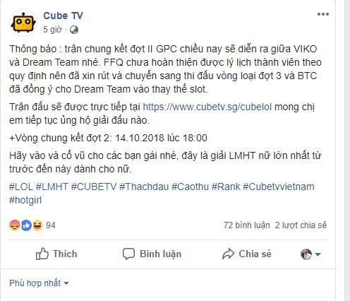 Cộng đồng mạng dậy sóng, đòi tẩy chay CubeTV sau sự cố team LMHT nữ FFQ rời khỏi giải - Ảnh 1.
