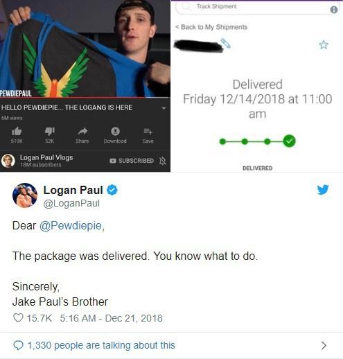 Hoàn thành sứ mệnh giúp đỡ Pewdiepie, Paul Logan yêu cầu ông hoàng Youtube thực hiện giao kèo - Ảnh 1.